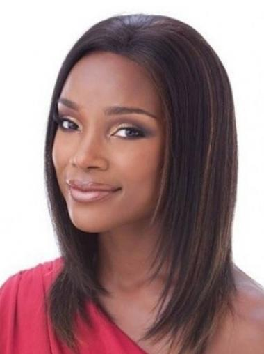 Without Bangs Best Straight Auburn Shoulder Length Human Hair Lace Front Wigs