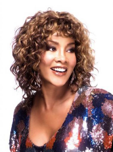 Wig African American Auburn Color Curly Style Shoulder Length