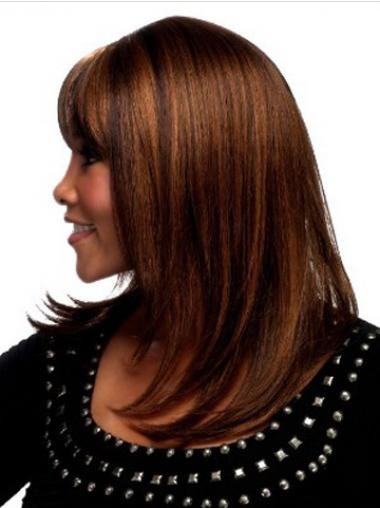 "Best Auburn Shoulder Length Straight With Bangs 18"" Human Hair Wigs"