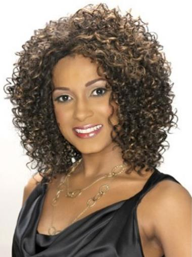 "Exquisite Shoulder Length Kinky 14"" Synthetic Glueless Lace Front Wigs"