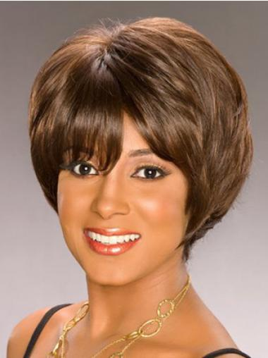 Bobs Capless Short Wavy Brown Synthetic African American Wigs UK