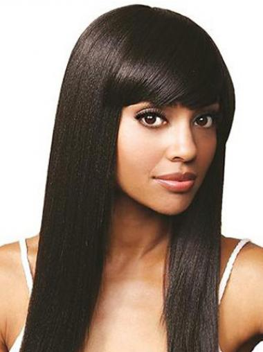 With Bangs Online Straight Black Long Human Hair Lace Front Wigs