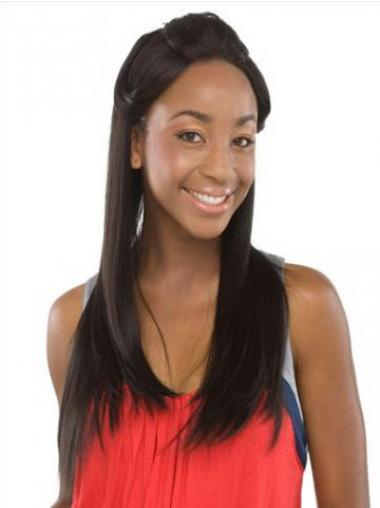 Without Bangs Sleek Straight Black Long Human Hair Lace Front Wigs