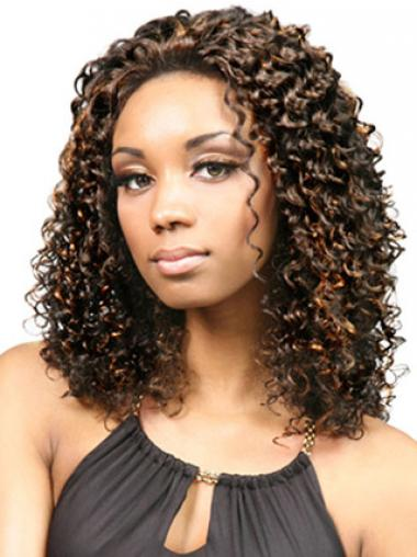 "Durable Shoulder Length Kinky 18"" Synthetic Glueless Lace Front Wigs"