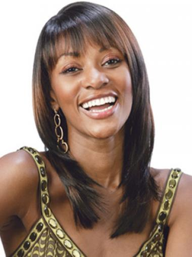 Layered Shoulder Length Brown Straight Hairstyles Petite Wigs