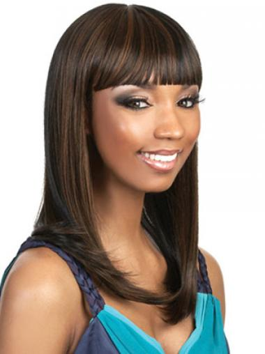 Long Brown Straight With Bangs Style African American Wigs