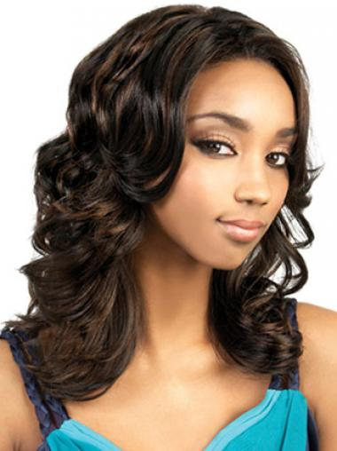 Long Brown Wavy Without Bangs Gorgeous African American Wigs