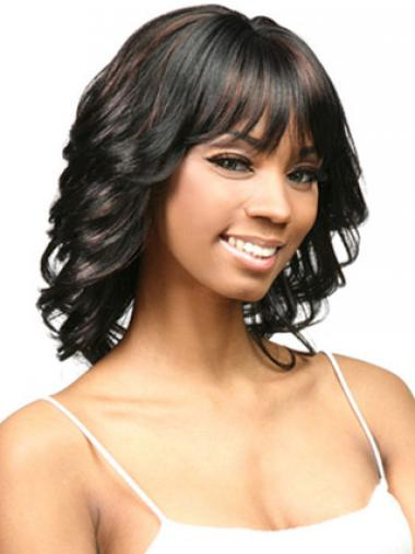 "14"" Layered Capless Curly Shoulder African Ameican Wigs"