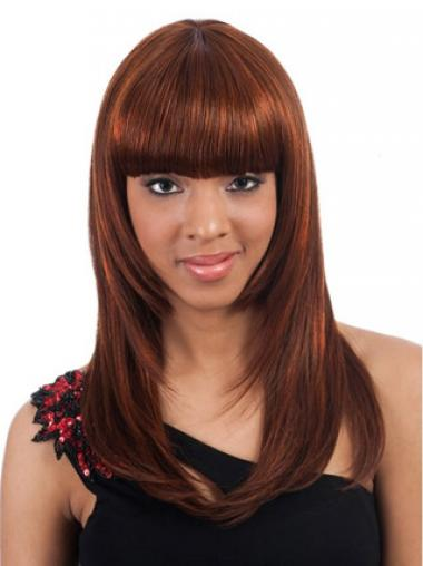 Long Auburn Yaki With Bangs Ideal African American Wigs
