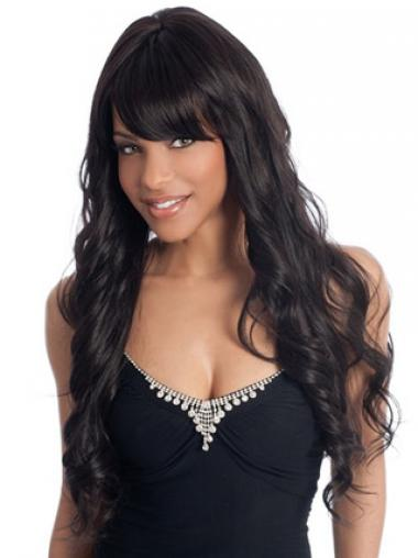 Long Black Wavy With Bangs Perfect African American Wigs