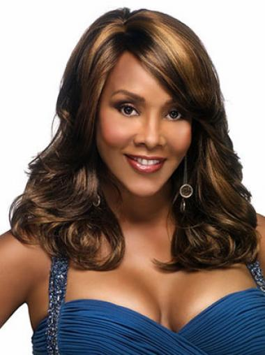 Wavy With Bangs Long Style Brown Synthetic Wigs