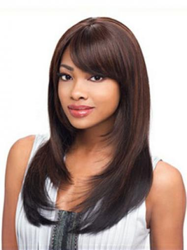 Long Auburn Straight Layered Exquisite African American Wigs