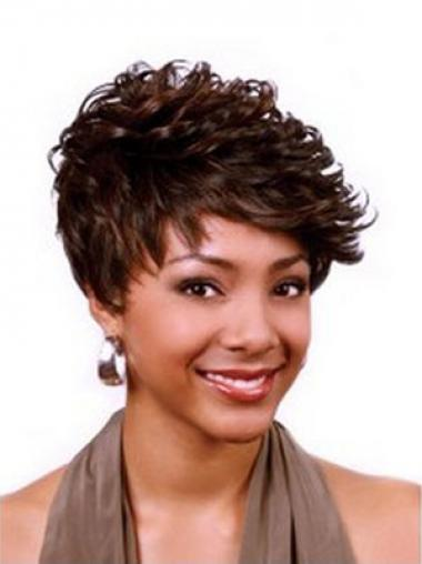 Cropped Auburn Curly Boycuts Durable African American Wigs