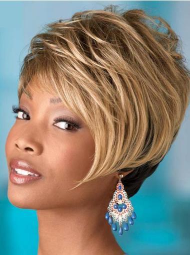 Short Blonde Wavy Boycuts Comfortable African American Wigs