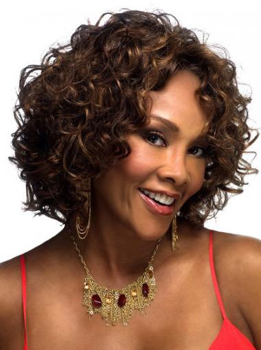 Layered Chin Length Brown Curly Online Petite Wigs