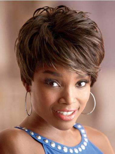 Cropped Brown Wavy Boycuts Stylish African American Wigs