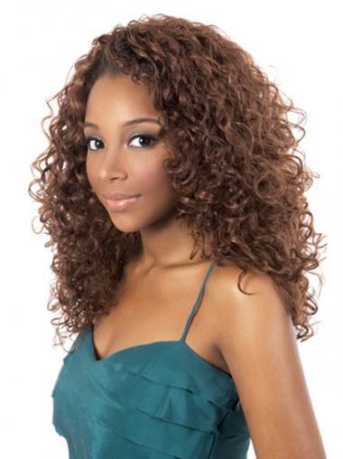 African Human Hair Shoulder Length Kinky Style Auburn Color