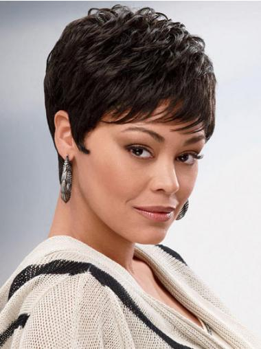 Brown Cropped Synthetic Wavy Capless Wigs For African American
