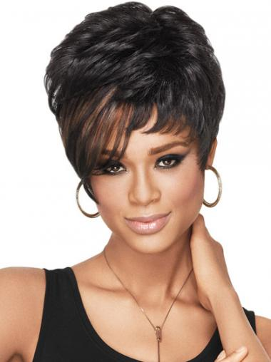 Cropped Black Wavy Boycuts High Quality African American Wigs