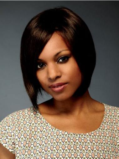 Chin Length Brown Straight Bobs Flexibility African American Wigs