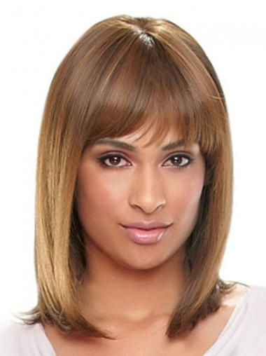 Shoulder Length Auburn Straight With Bangs Designed African American Wigs