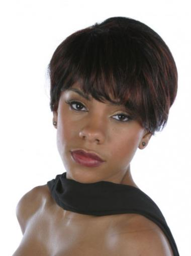 "Brown Short Straight Layered Capless 6"" African American Wigs"