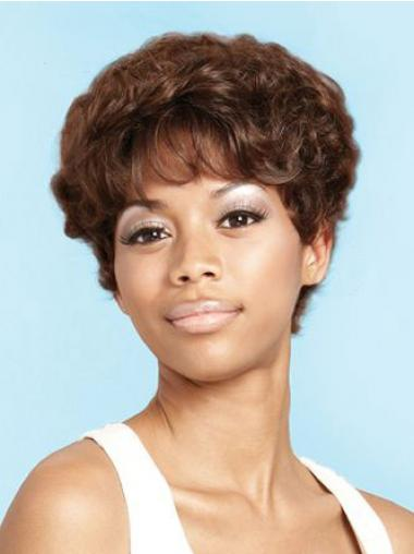 Short Brown Curly Layered Beautiful African American Wigs