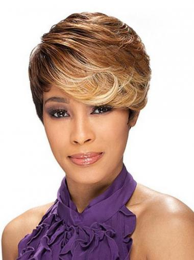 Cropped Brown Layered Capless Wavy Synthetic African Hairstyles