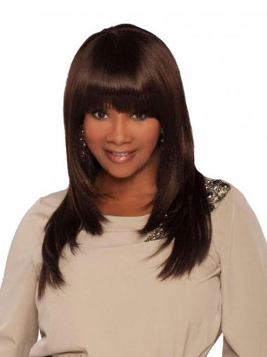 Long Brown Yaki With Bangs Cheap African American Wigs