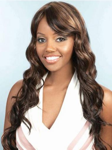Long Brown Wavy Layered Amazing African American Wigs