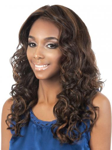 Long Brown Curly Without Bangs Affordable African American Wigs