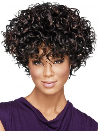 African American Wigs With Capless Synthetic Layered Cut Kinky Style
