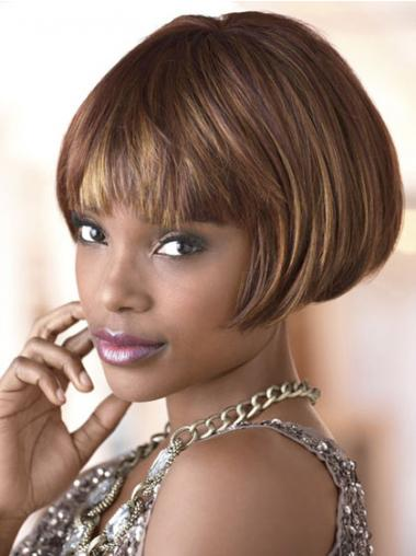 Short Brown Straight Bobs Natural African American Wigs
