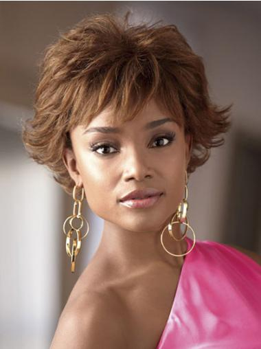 Short Brown Wavy Layered Popular African American Wigs