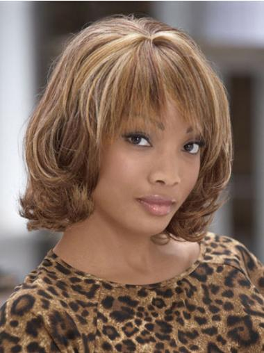 Chin Length Brown Curly With Bangs Fashion African American Wigs