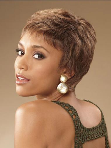 Cropped Brown Curly Boycuts Suitable African American Wigs