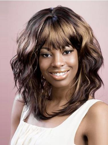 Shoulder Length Brown Wavy Layered Good African American Wigs