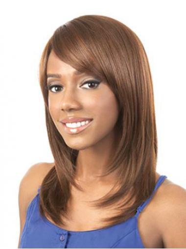Shoulder Length Auburn Yaki Layered Style African American Wigs