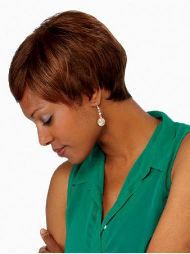 "Stylish Short Straight 4"" Synthetic Glueless Lace Front Wigs"