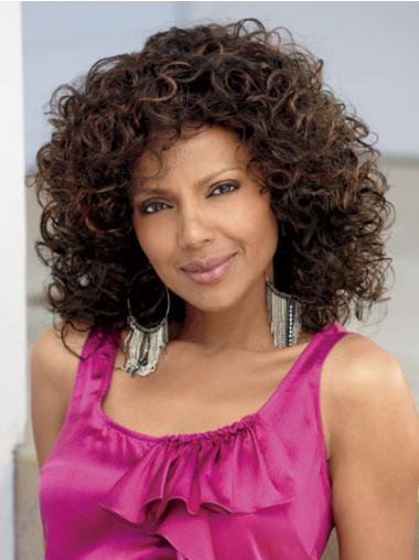 Shoulder Length Brown Kinky Without Bangs Convenient African American Wigs