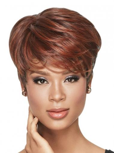 Cropped Red Wavy Boycuts Ideal African American Wigs