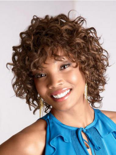 Chin Length Brown Curly Layered Perfect African American Wigs