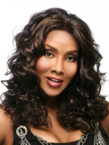 Long Brown Wavy Without Bangs Exquisite African American Wigs