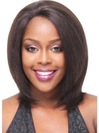 Human Hair Wigs Lace Front Indian Remy Brown Color Shoulder Length