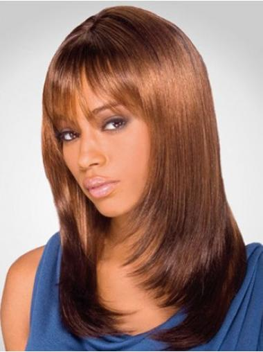 "Online Shoulder Length Yaki 16"" Synthetic Glueless Lace Front Wigs"