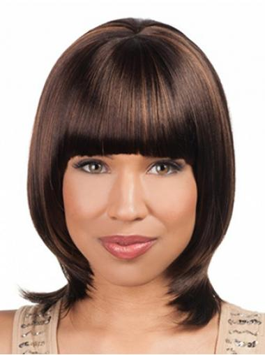 "Sleek Chin Length Yaki 16"" Synthetic Glueless Lace Front Wigs"