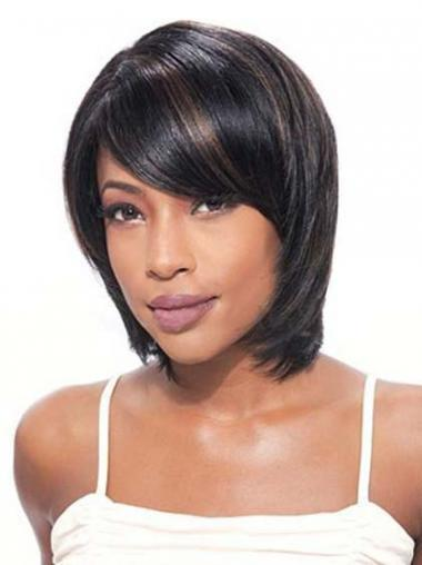 Bobs Beautiful Straight Black Chin Length Human Hair Lace Front Wigs