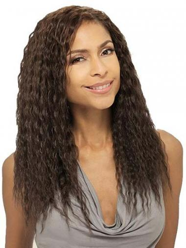 Long Brown Wavy Without Bangs Soft African American Wigs