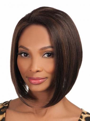 Chin Length Brown Yaki Without Bangs Comfortable African American Wigs