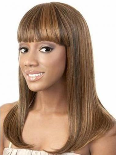 Shoulder Length Brown Yaki With Bangs Trendy African American Wigs